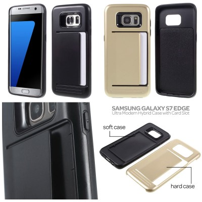 * Samsung Galaxy S7 Edge - Ultra Modern Hybrid Case with Card Slot