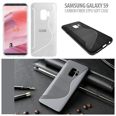^ Samsung Galaxy S9 - Carbon Fiber STPU Soft Case }