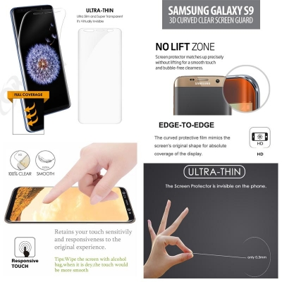 ^ Samsung Galaxy S9 - Curved Clear Screen Guard