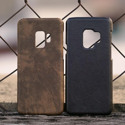 Samsung Galaxy S9 - Leather Covered Hard Case