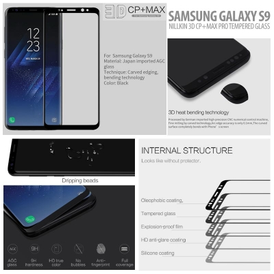 ^ Samsung Galaxy S9 - Nillkin 3D CP Plus Max Pro Tempered Glass }
