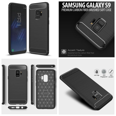 ^ Samsung Galaxy S9 - PREMIUM Carbon Fiber Brushed Soft Case }