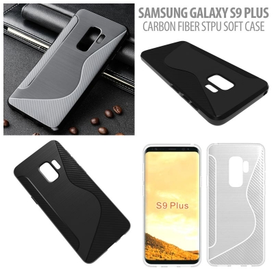 ^ Samsung Galaxy S9 Plus - Carbon Fiber STPU Soft Case }