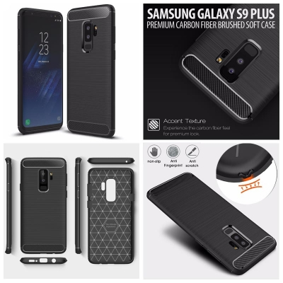 ^ Samsung Galaxy S9 Plus - PREMIUM Carbon Fiber Brushed Soft Case }