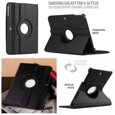 ^ Samsung Galaxy Tab 4 10.0 T530 - 360 Degree Rotary Leather Case }