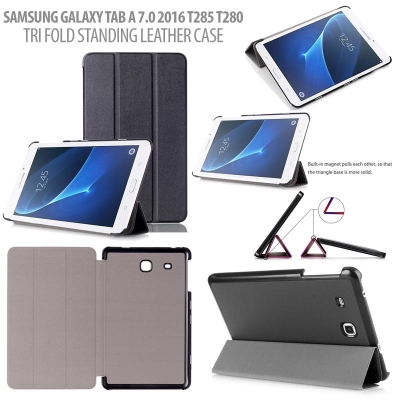 ^ Samsung Galaxy Tab A 7.0 2016 T280 T285 - Tri Fold Standing Leather Case }