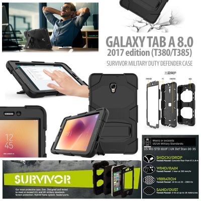 * Samsung Galaxy Tab A 8.0 2017 T380 - Survivor Military Duty Defender Case