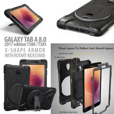 * Samsung Galaxy Tab A 8.0 2017 T380 - X Shape Armor With Rotary Kickstand