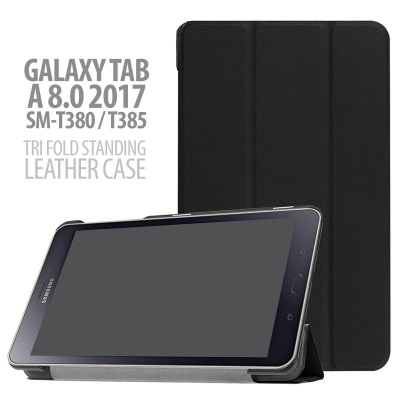 ^ Samsung Galaxy Tab A 8.0 2017 T380 - Tri Fold Standing Leather Case