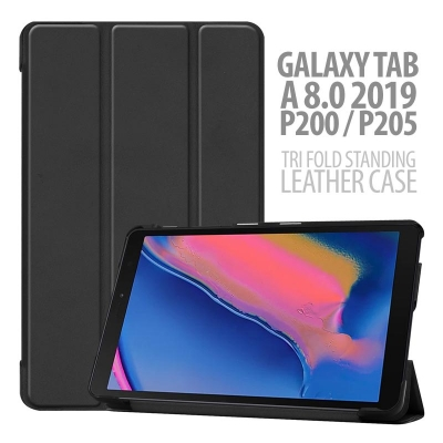 ^ Samsung Galaxy Tab A 8.0 2019 P200 P205 - Tri Fold Standing Leather Case