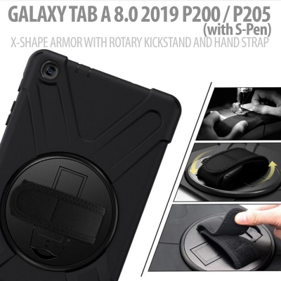 ^ Samsung Galaxy Tab A 8.0 2019 P200 P205 - X-Shape Armor with Rotary Kickstand and Hand strap