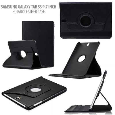 ^ Samsung Galaxy Tab S3 9.7 T820 T825 - 360 Rotary Leather Case }
