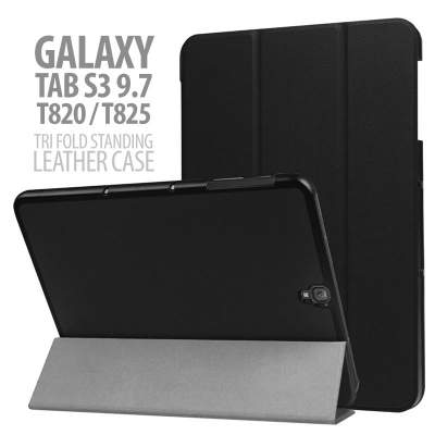 ^ Samsung Galaxy Tab S3 9.7 Inch T820 T825 - SOLID BLACK Tri Fold Standing Leather Case