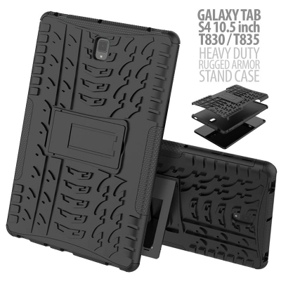 ^ Samsung Galaxy Tab S4 10.5 T835 - Heavy Duty Rugged Armor Stand Case