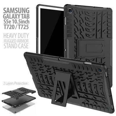 ^ Samsung Galaxy Tab S5e 10.5 inch T720 T725N - Heavy Duty Rugged Armor Stand Case