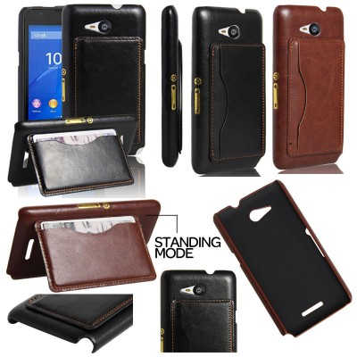 $ Sony Xperia E4G - Leather Textured Standing Hard Case with Card Slot