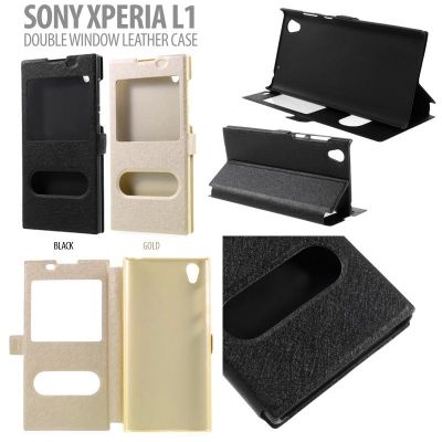 * Sony Xperia L1 - Double Window Leather Case }