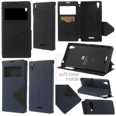 $ Sony Xperia T3 Dual / T3 D5103 - Roar Window Leather Case
