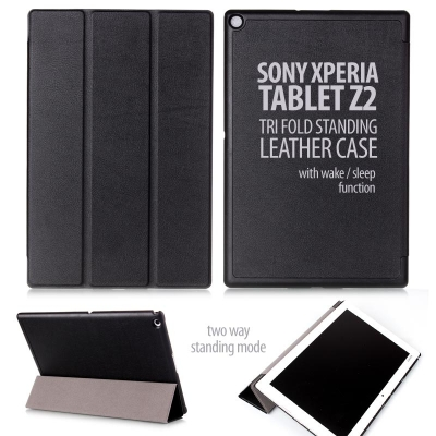 ^ Sony Xperia Tablet Z2 - Tri Fold Standing Leather Case
