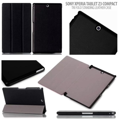 ^ Sony Xperia TABLET Z3 Compact - Tri Fold Standing Leather Case }