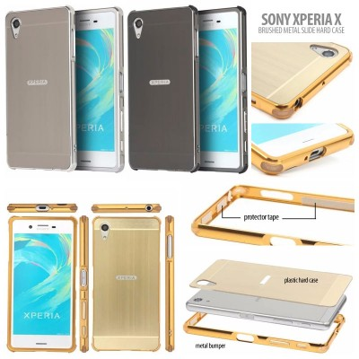 ^ Sony Xperia X - Brushed Metal Slide Hard Case }