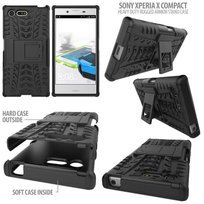 ^ Sony Xperia X Compact - Heavy Duty Rugged Armor Stand Case }