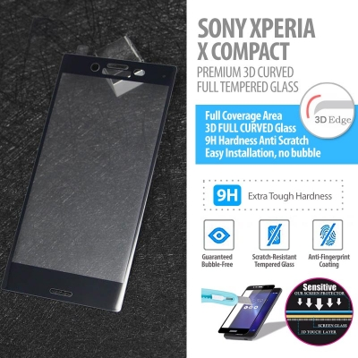 ^ Sony Xperia X Compact - Premium 3D Curved Full Tempered Glass