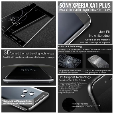 ^ Sony Xperia XA1 Plus Dual / XA1 Plus - Imak 3D Edges Full Covered Tempered Glass }