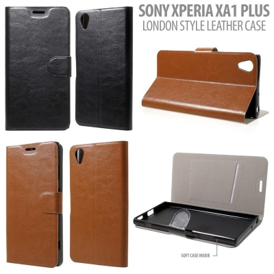 * Sony Xperia XA1 Plus Dual / XA1 Plus - London Style Leather Case }