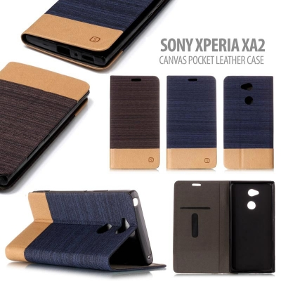 * Sony Xperia XA2 - Canvas Pocket Leather Case