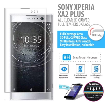 ^ Sony Xperia XA2 Plus - ALL CLEAR 3D Curved Full Tempered Glass