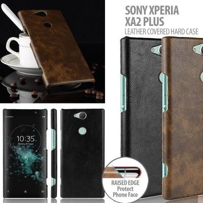 ^ Sony Xperia XA2 Plus - Leather Covered Hard Case