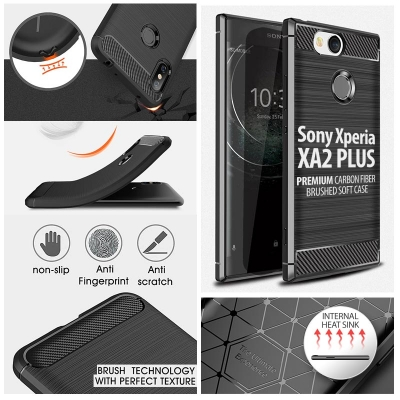 ^ Sony Xperia XA2 Plus - PREMIUM Carbon Fiber Brushed Soft Case