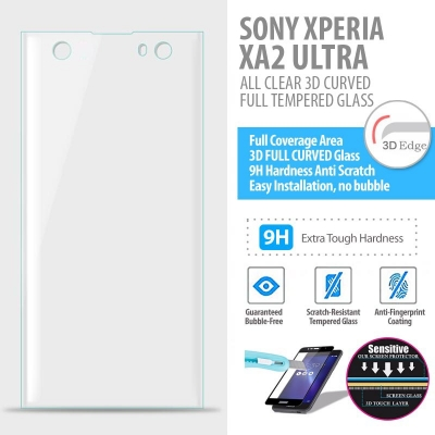 ^ Sony Xperia XA2 Ultra - ALL CLEAR 3D Curved Full Tempered Glass