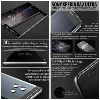 ^ Sony Xperia XA2 Ultra - Imak 3D Edges Full Covered Tempered Glass }