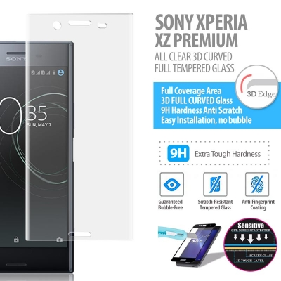 ^ Sony Xperia XZ Premium - ALL CLEAR 3D Curved Full Tempered Glass