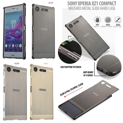 ^ Sony Xperia XZ1 Compact - Brushed Metal Slide Hard Case }
