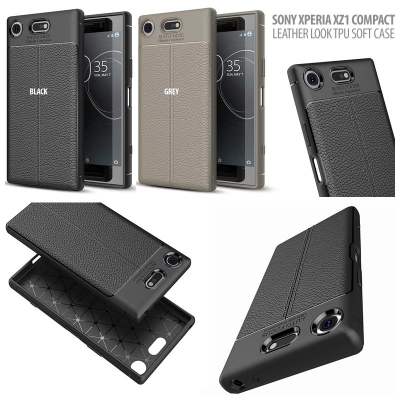 ^ Sony Xperia XZ1 Compact - Leather Look TPU Soft Case }