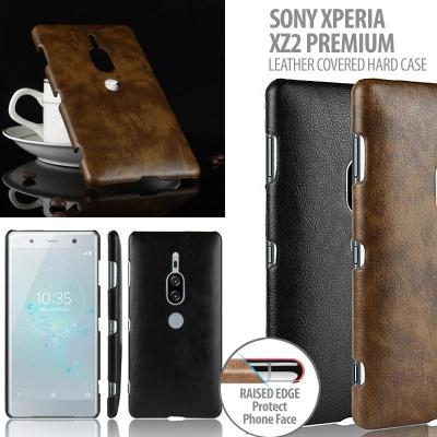 ^ Sony Xperia XZ2 Premium - Leather Covered Hard Case