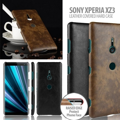 ^ Sony Xperia XZ3 - Leather Covered Hard Case