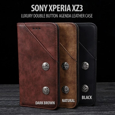 ^ Sony Xperia XZ3 - Luxury Double Button Agenda Leather Case