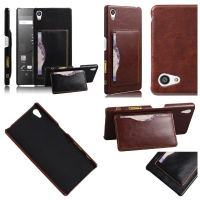 * Sony Xperia Z5 Dual / Z5 - Leather Textured Standing Hard Case with Card Slot