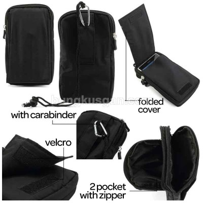 * Universal Black Zipper Bag With Fold Cover XXL 6.3inch (i9200)