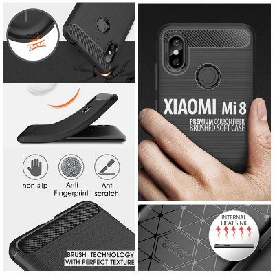 ^ Xiaomi Mi 8 / Mi8 - PREMIUM Carbon Fiber Brushed Soft Case