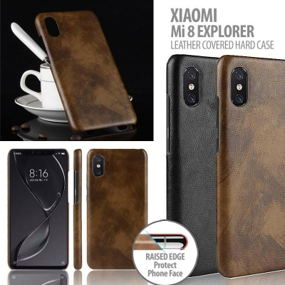 ^ Xiaomi Mi 8 Explorer / Mi8 Explorer / Mi 8 Pro / Mi8 Pro - Leather Covered Hard Case