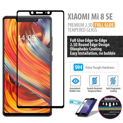 ^ Xiaomi Mi 8 SE / Mi8 SE - PREMIUM 2.5D Full Glue Tempered Glass