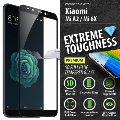 ^ Xiaomi Mi A2 / Mi 6X - PREMIUM 5D Full Glue Tempered Glass