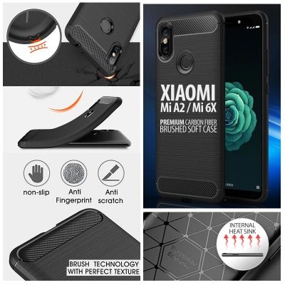 ^ Xiaomi Mi A2 / Mi 6X - PREMIUM Carbon Fiber Brushed Soft Case