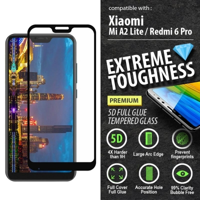 ^ Xiaomi Mi A2 Lite / Redmi 6 Pro - PREMIUM 5D Full Glue Tempered Glass