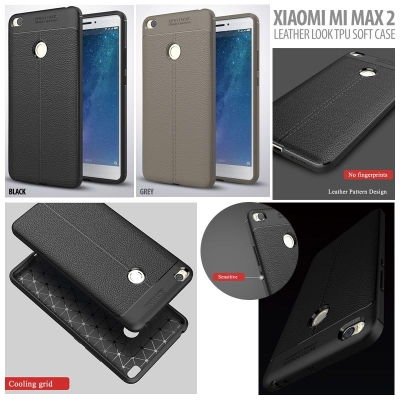 ^ Xiaomi Mi Max 2 - Leather Look TPU Soft Case }